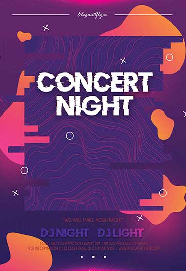 Concert Night – PSD Flyer Template + Facebook Cover + Instagram Post