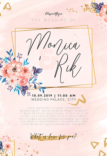 Watercolor Wedding Invitation – PSD Flyer Template + Facebook Cover + Instagram Post