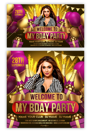 Welcome to My Birthday Party – Facebook Event + Instagram Template + YouTube Channel Banner
