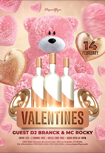 Valentines Party – Flyer Template PSD + Facebook Cover + Instagram Post