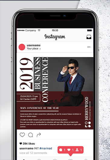 Conference 2019 – PSD Flyer Template + Facebook Cover + Instagram Post