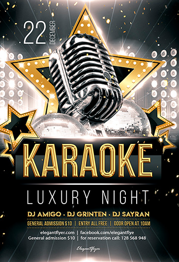 luxury karaoke night  u2013 psd flyer template   facebook cover