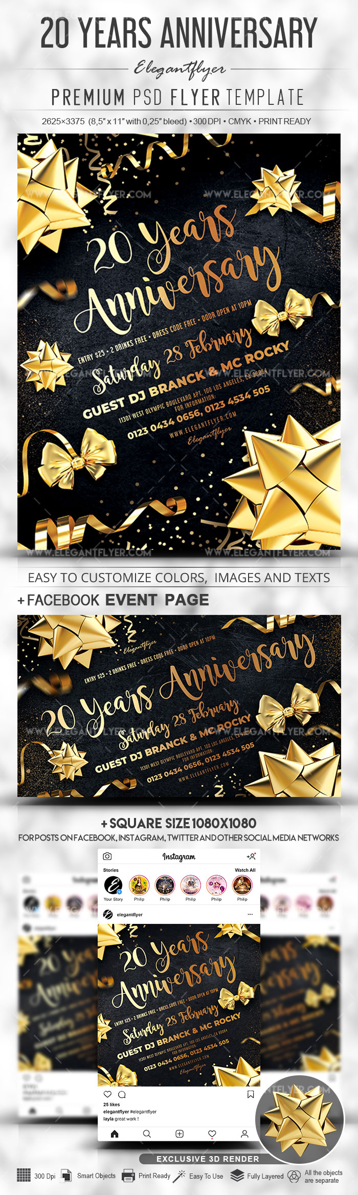 20 Years Anniversary – Flyer PSD Template + Facebook Cover + Instagram Post
