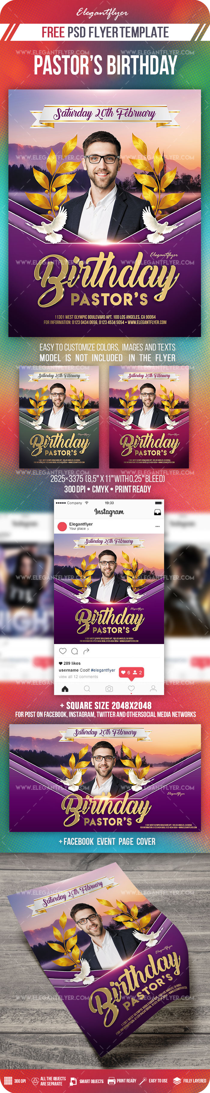 Pastor's Birthday – Free PSD Flyer Template + Facebook Cover + Instagram Post