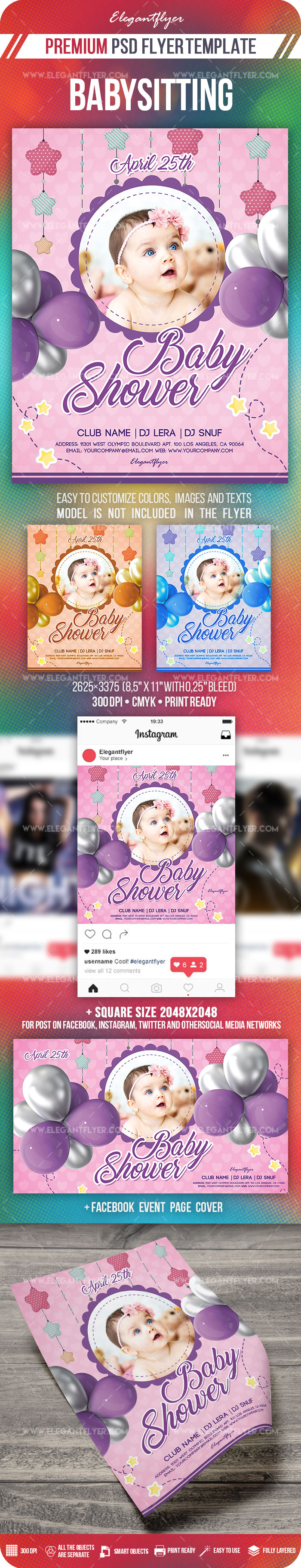 Baby Shower Party – Flyer PSD Template + Facebook Cover + Instagram Post