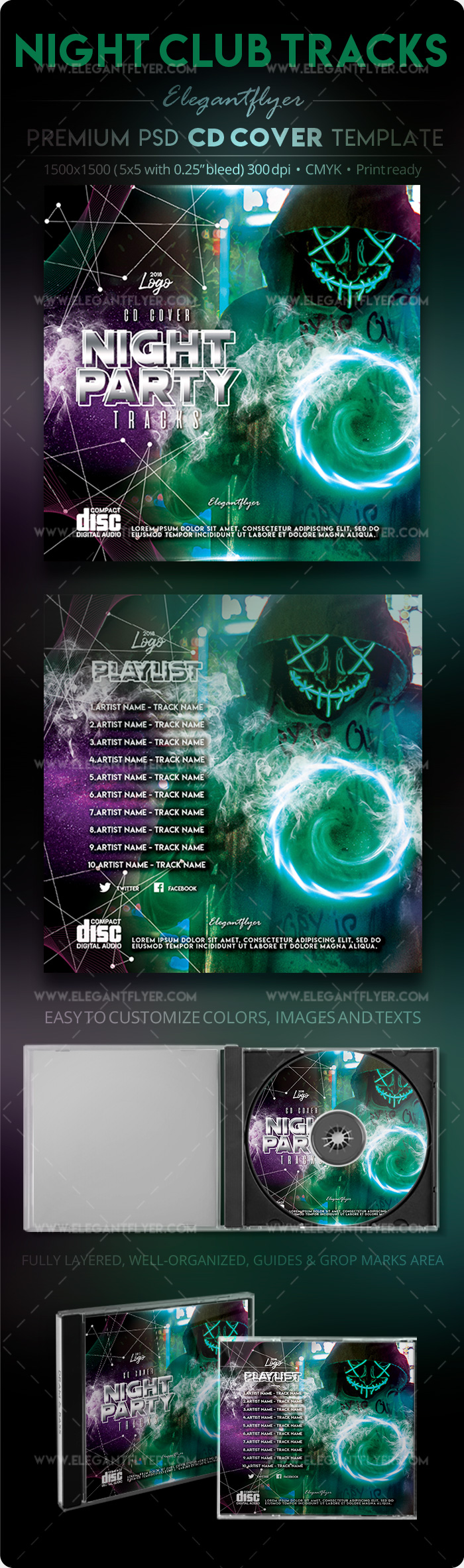 Night Club Tracks – PSD CD Cover Template