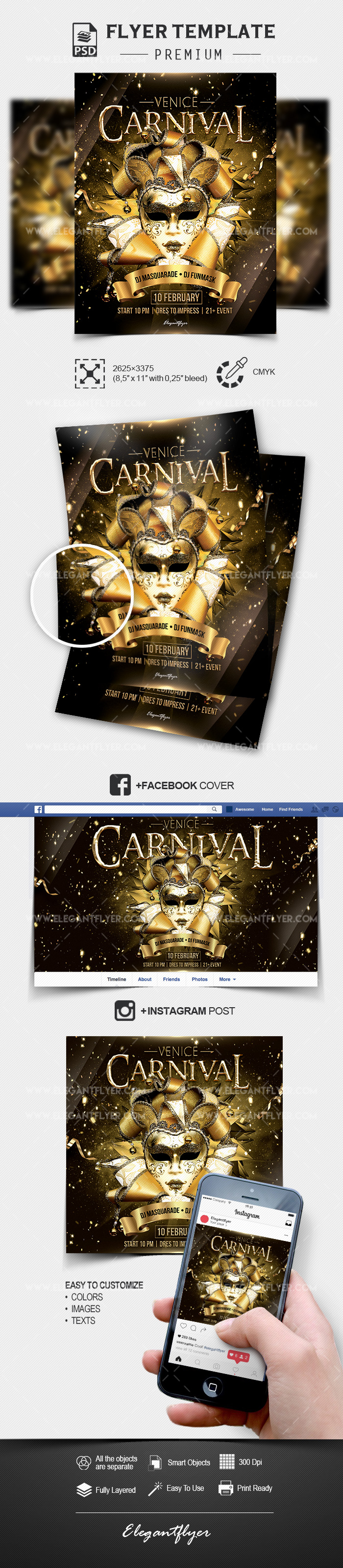 Venice Carnival – PSD Flyer Template + Facebook Cover + Instagram Post