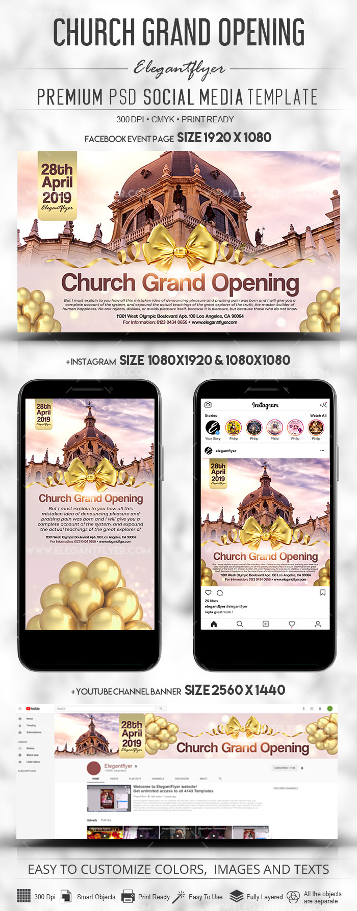 Church Grand Opening – Facebook Post + Instagram Story + YouTube Channel Banner