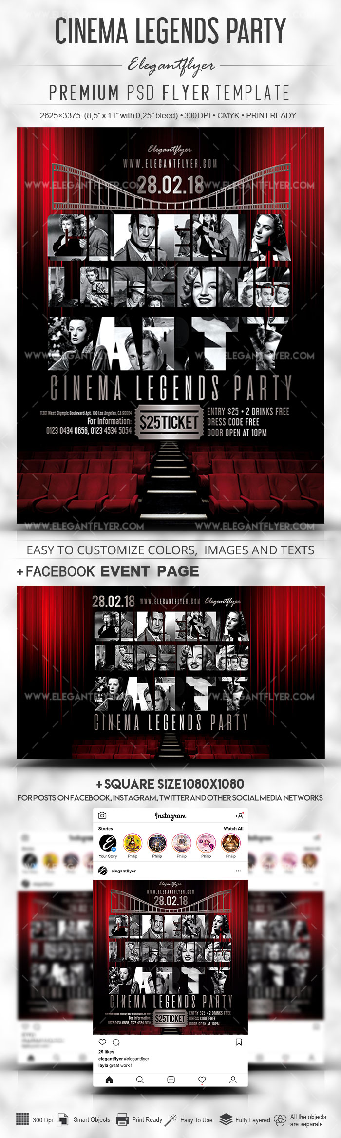 Cinema Legends Party – PSD Flyer Template + Facebook Cover + Instagram Post