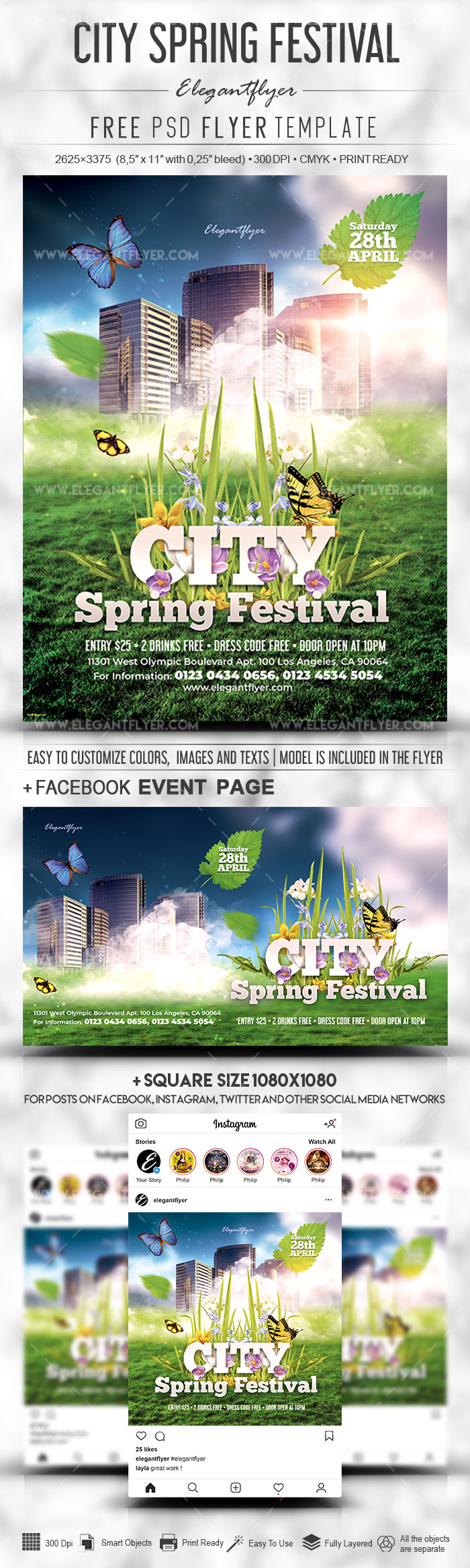City Spring Festival – Free PSD Flyer Template + Facebook Cover + Instagram Post