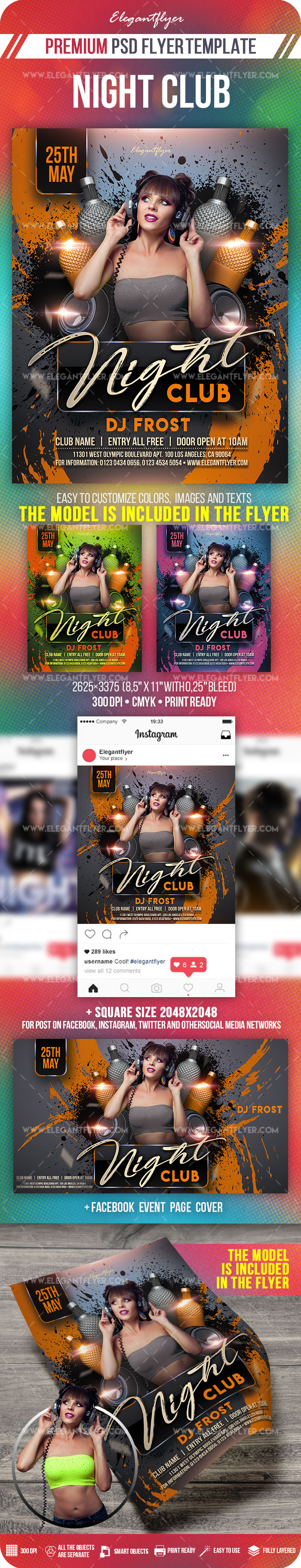 Club Night – PSD Flyer Template + Facebook Cover + Instagram Post