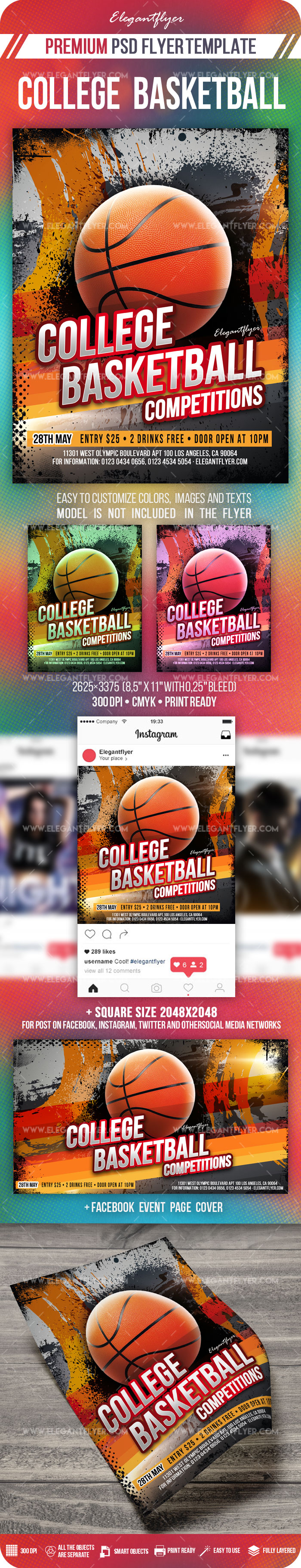 College Basketball Competitions – PSD Flyer Template + Facebook Cover + Instagram Post