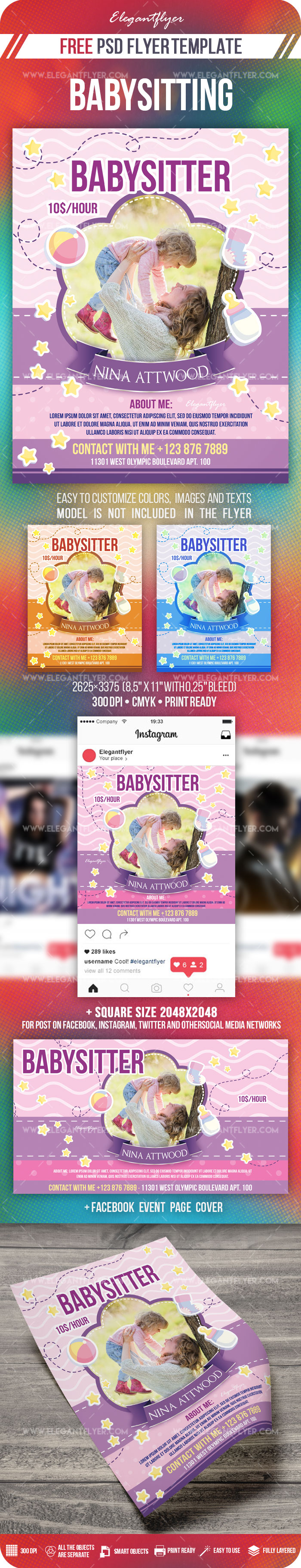 Babysitting – Free PSD Flyer Template + Facebook Cover + Instagram Post