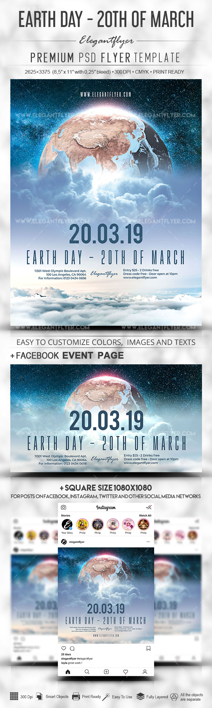 Earth Day – 20th of March – PSD Flyer Template + Facebook Cover + Instagram Post