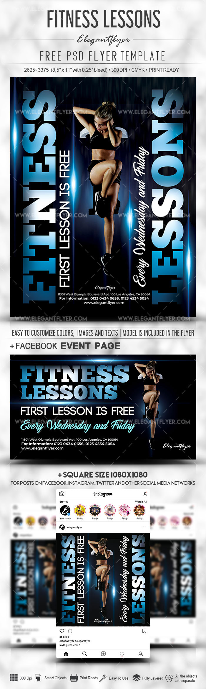 Fitness Lessons – Free PSD Flyer Template + Facebook Cover + Instagram Post