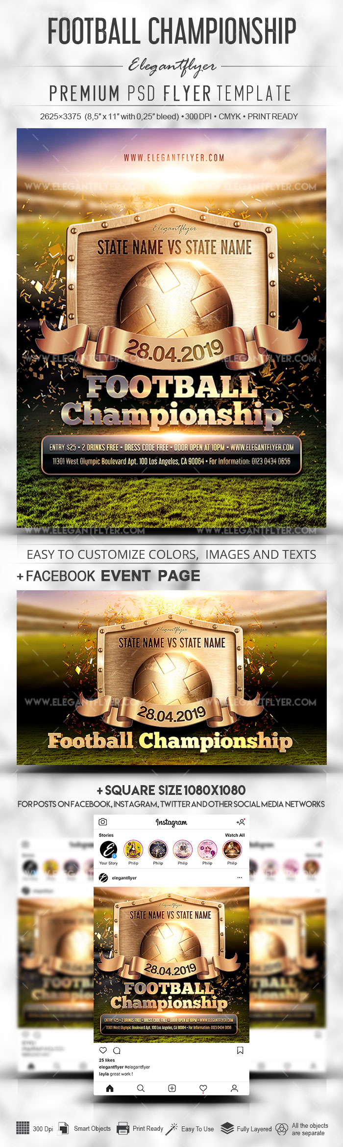 Football Championship – Flyer PSD Template + Facebook Cover + Instagram Post
