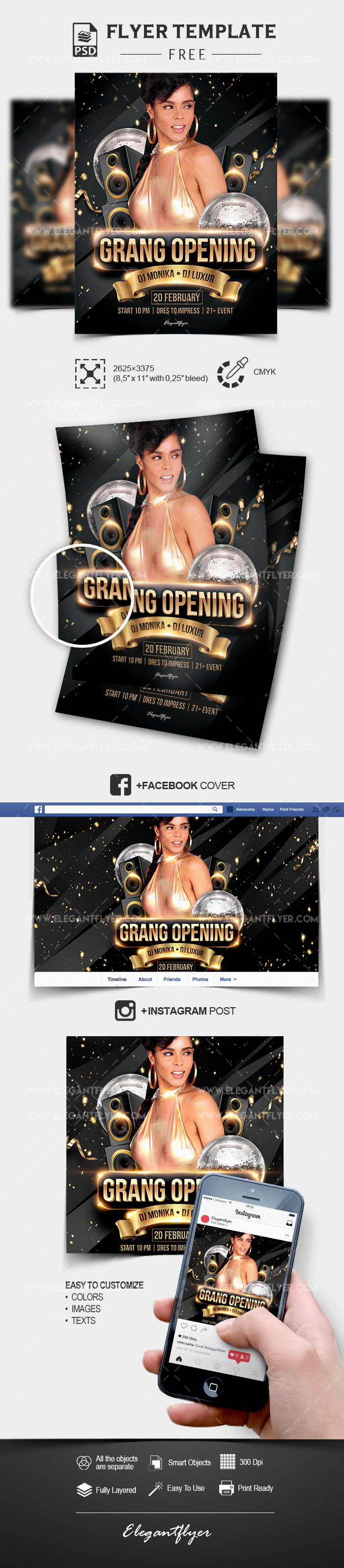 Grand Opening – Free PSD Flyer Template + Facebook Cover + Instagram Post