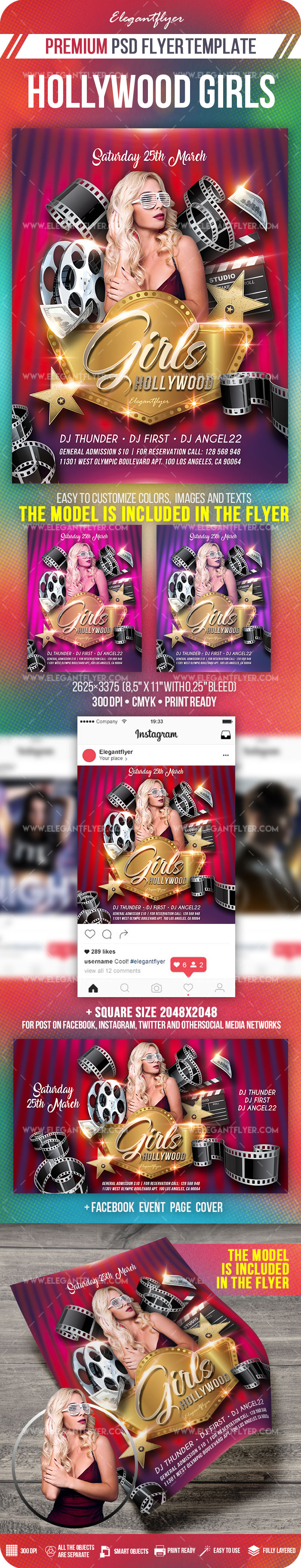 Hollywood Girls – PSD Flyer Template + Facebook Cover + Instagram Post
