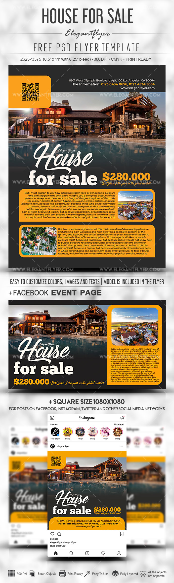 House for Sale – Free PSD Flyer Template + Facebook Cover + Instagram Post