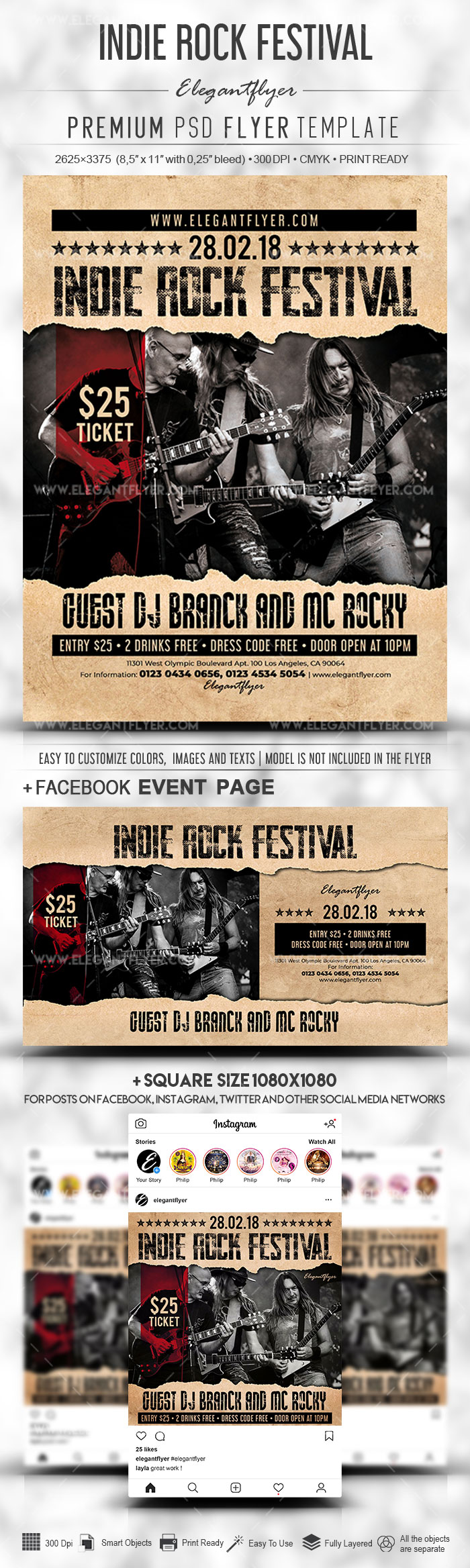 Indie Rock Festival – Flyer PSD Template + Facebook Cover + Instagram Post