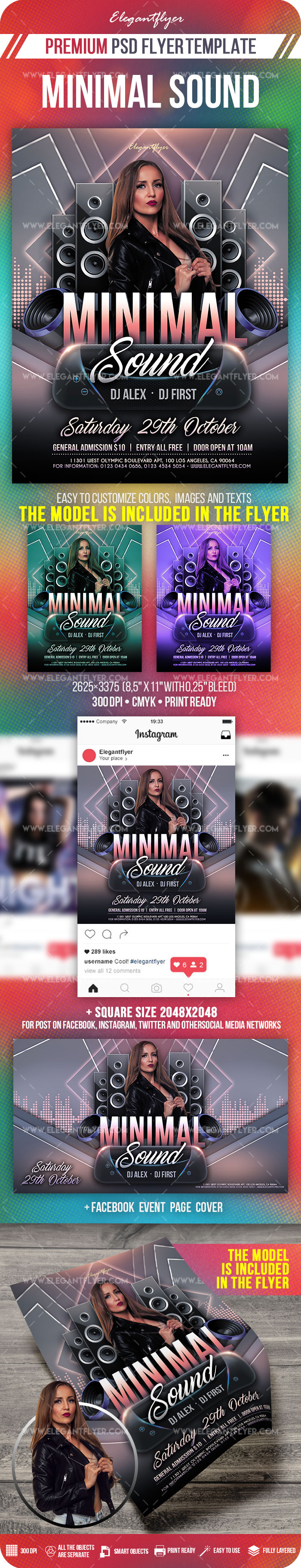 Minimal Sound – PSD Flyer Template + Facebook Cover + Instagram Post