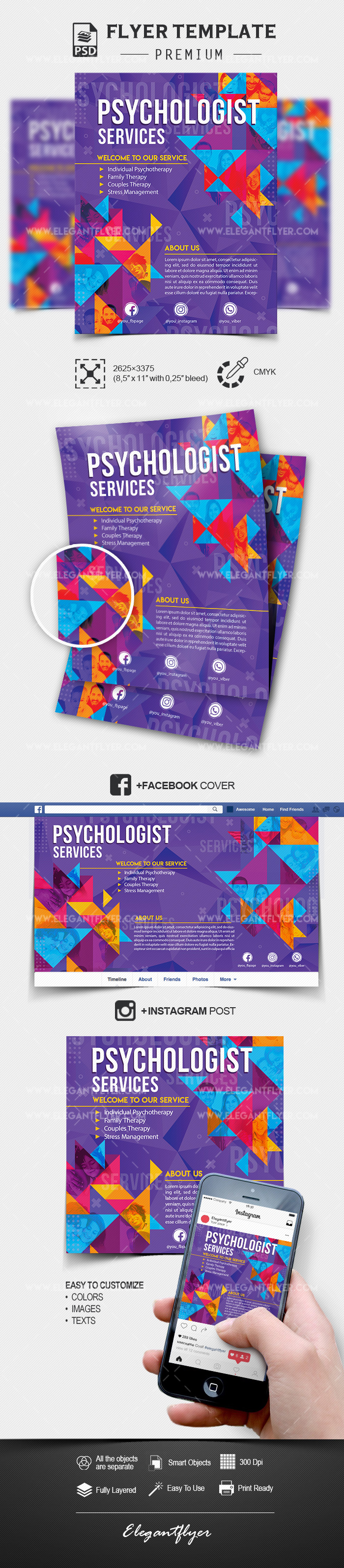 Psychologist Services – PSD Flyer Template + Facebook Cover + Instagram Post