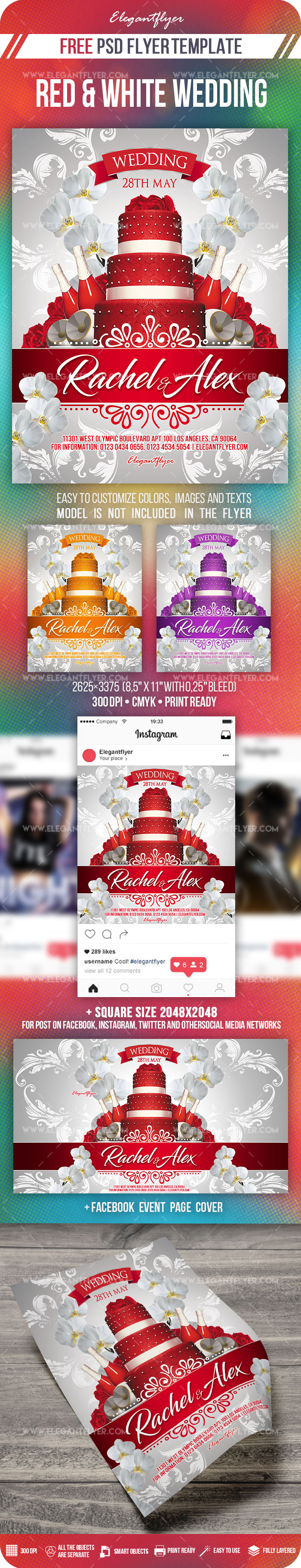 Red and White Wedding – Free PSD Flyer Template + Facebook Cover + Instagram Post