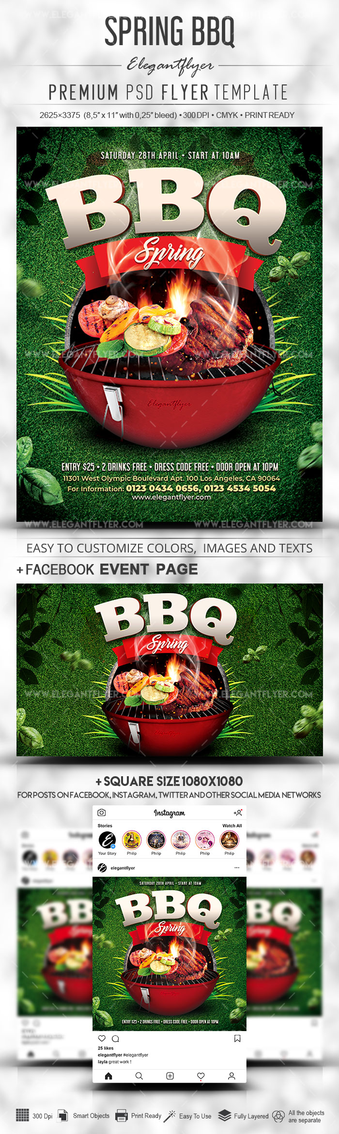 Spring BBQ – PSD Flyer Template + Facebook Cover + Instagram Post