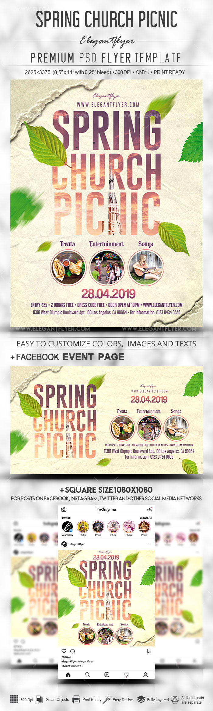 Spring Church Picnic – PSD Flyer Template + Facebook Cover + Instagram Post