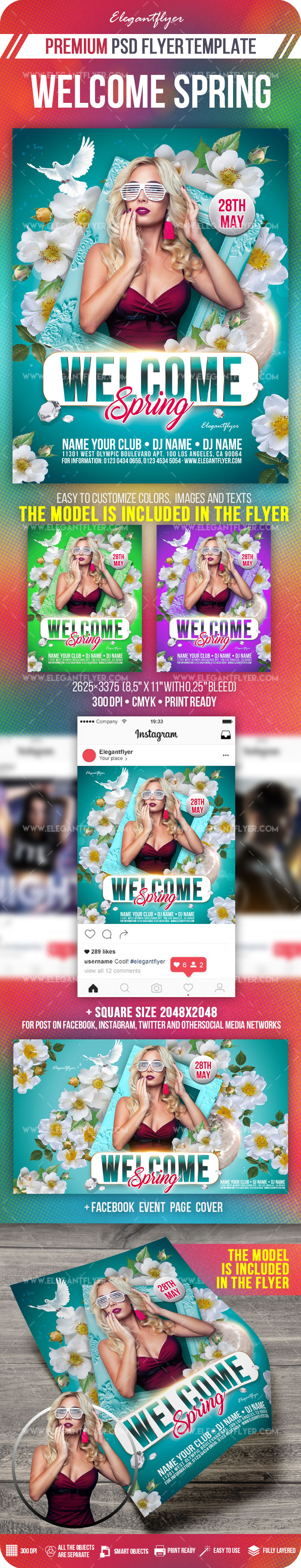 Welcome Spring – Flyer PSD Template + Facebook Cover + Instagram Post