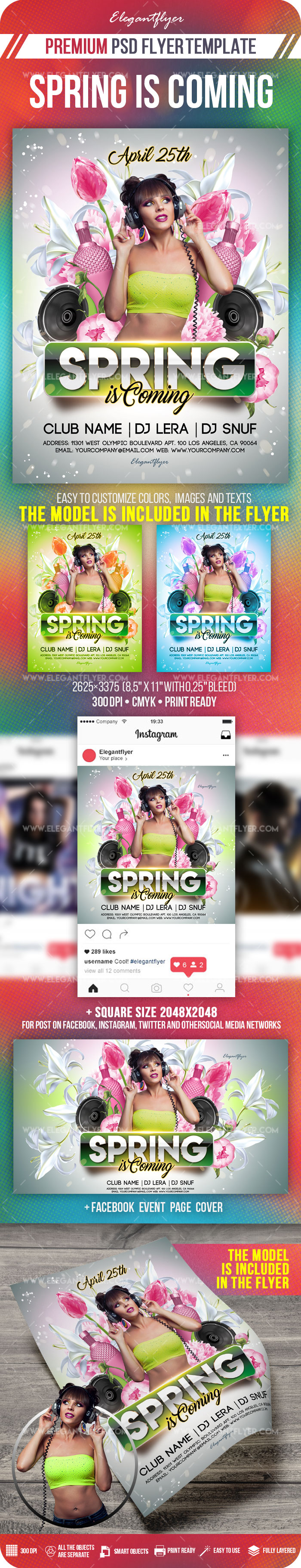 Spring is Coming – Flyer PSD Template + Facebook Cover + Instagram Post