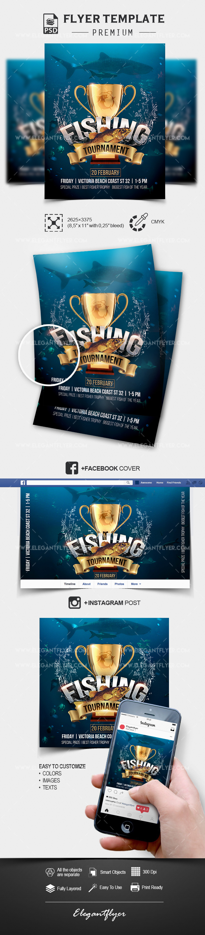 Fishing Tournament – PSD Flyer Template + Facebook Cover + Instagram Post