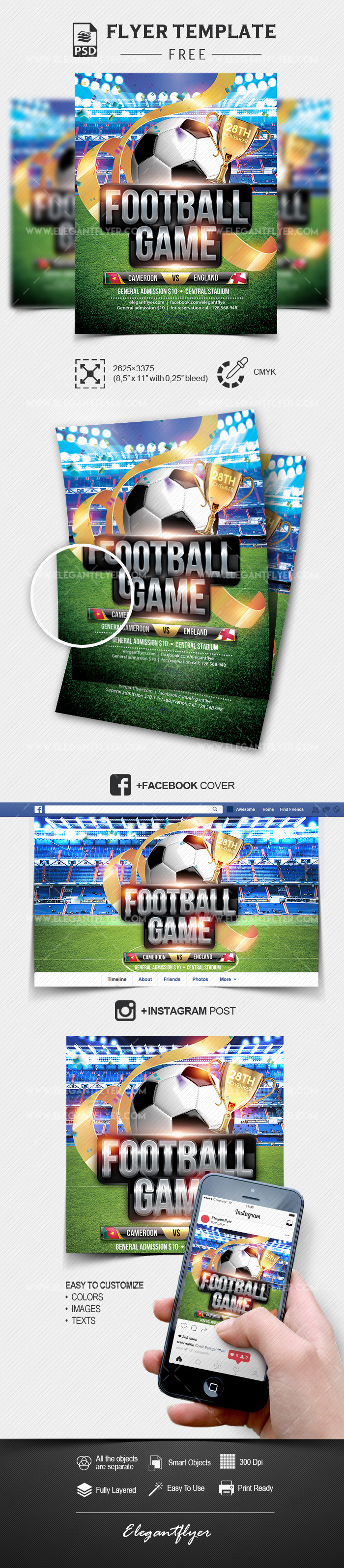 Football Game – Free PSD Flyer Template + Facebook Cover + Instagram Post