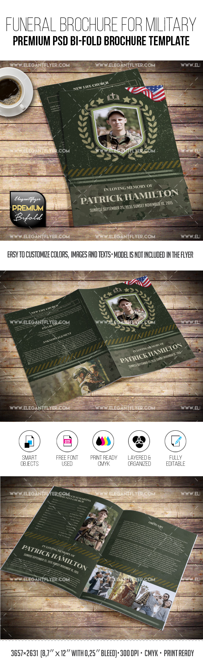 Funeral Brochure for Military – PSD Brochure Template