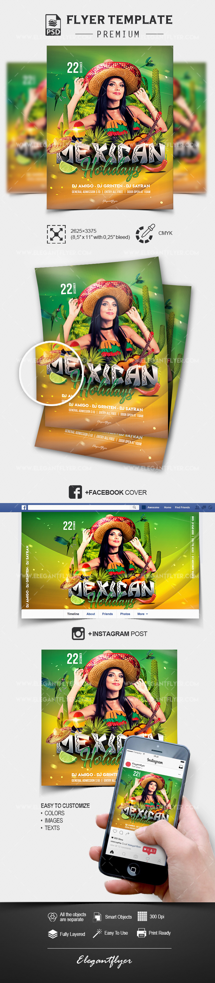 Mexican Holidays – Flyer PSD Template + Facebook Cover + Instagram Post
