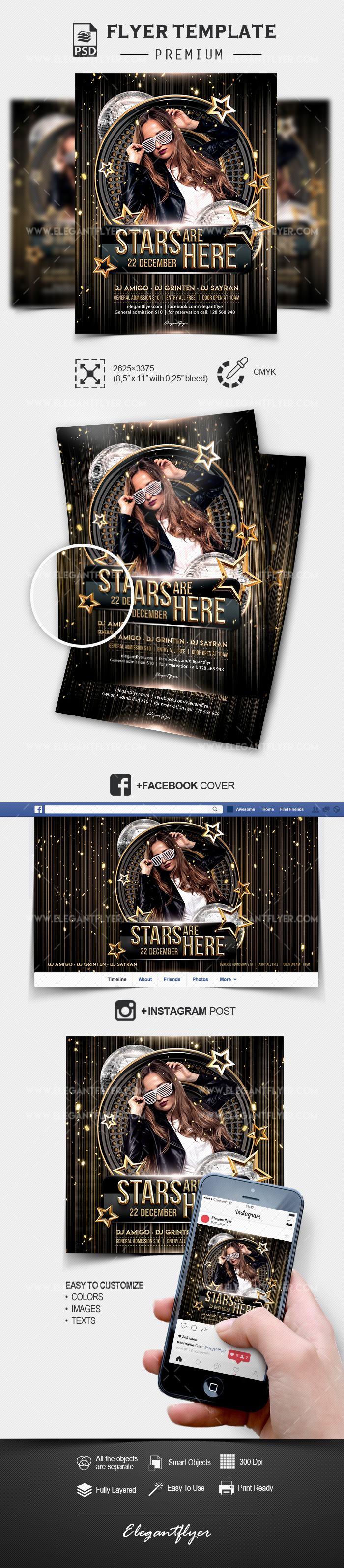 Stars are Here – PSD Flyer Template + Facebook Cover + Instagram Post