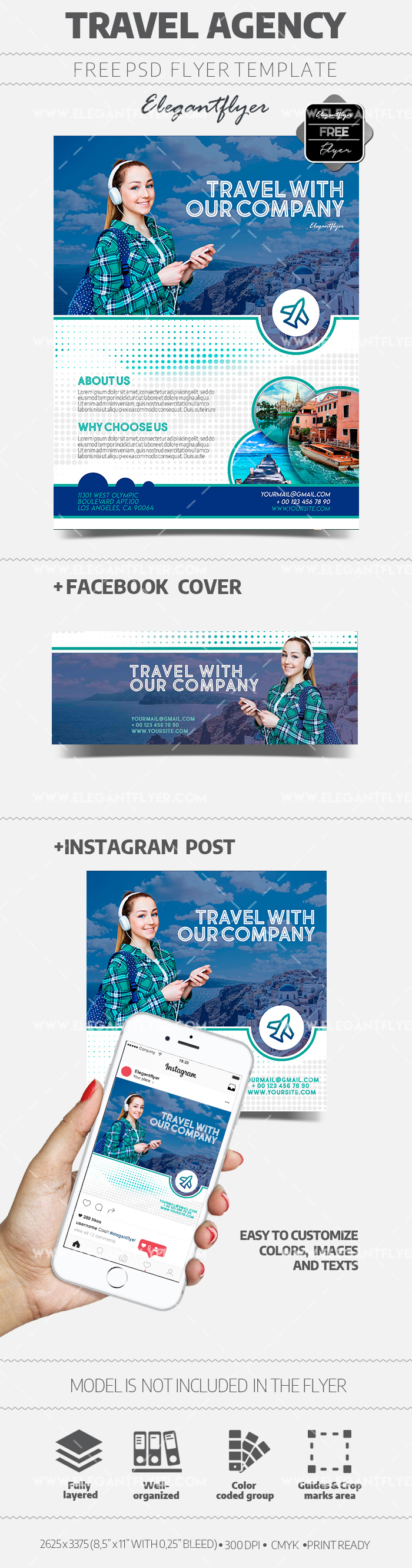 Travel Agency – Free PSD Flyer Template + Facebook Cover + Instagram Post