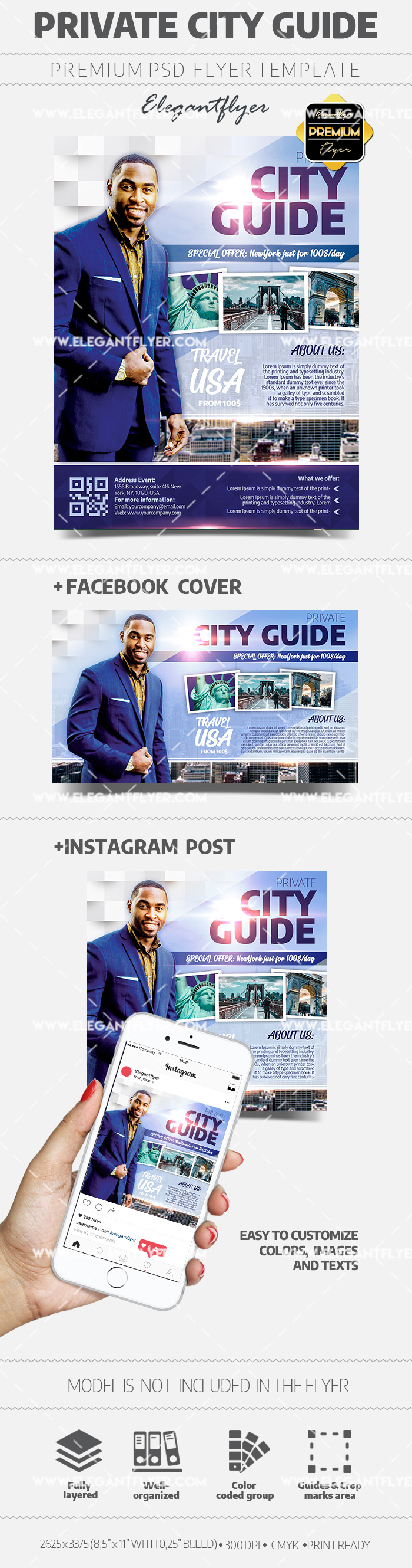 Private City Guide – Flyer PSD Template + Facebook Cover + Instagram Post