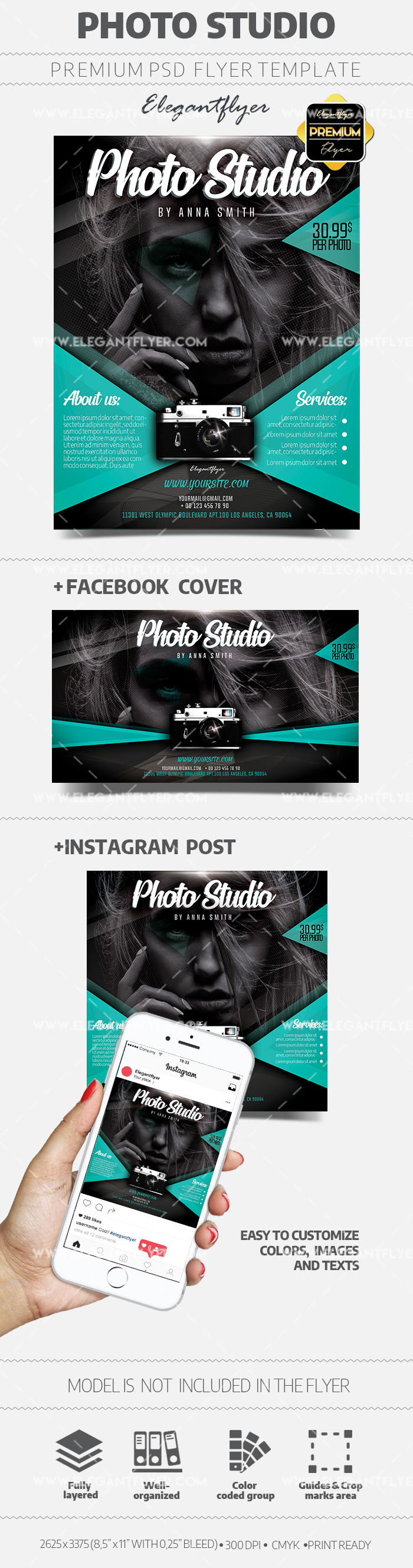 Photo Studio – PSD Flyer Template + Facebook Cover + Instagram Post