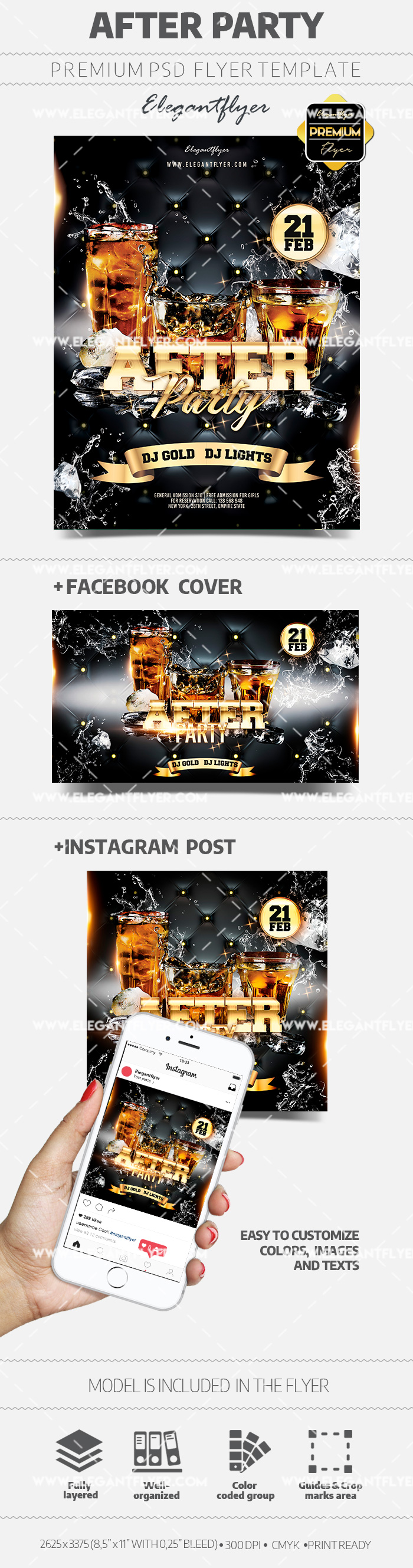 After Party – PSD Flyer Template + Instagram Post + Facebook Cover