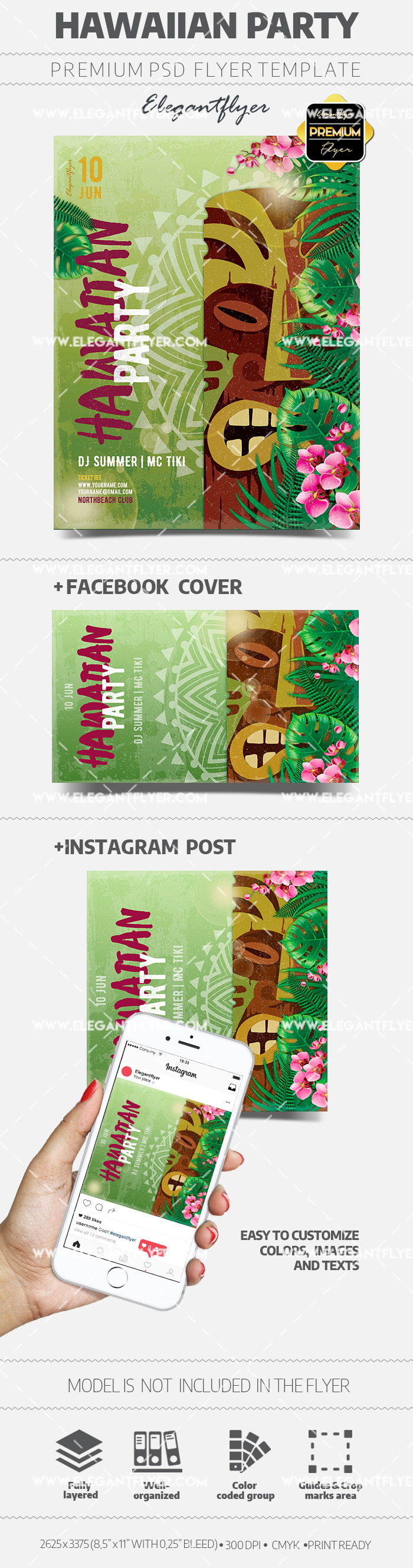 Hawaiian Party – Flyer PSD Template + Facebook Cover + Instagram Post