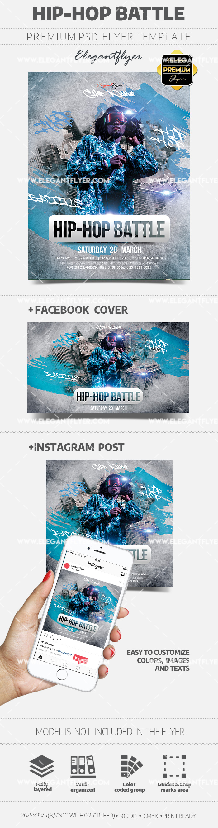 Hip Hop Battle – Flyer PSD Template + Facebook Cover + Instagram Post