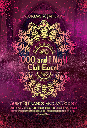 1000 and 1 Night Club Event – PSD Flyer Template + Facebook Cover + Instagram Post