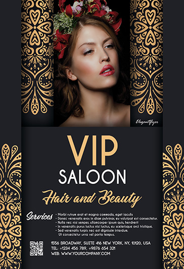 VIP Hair and Beauty Saloon – Flyer PSD Template + Facebook Cover + Instagram Post
