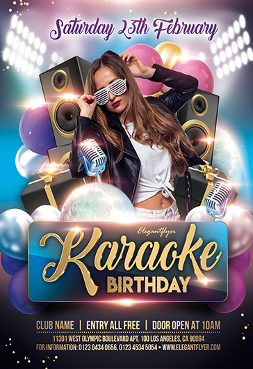 Karaoke Birthday – PSD Flyer Template + Facebook Cover + Instagram Post
