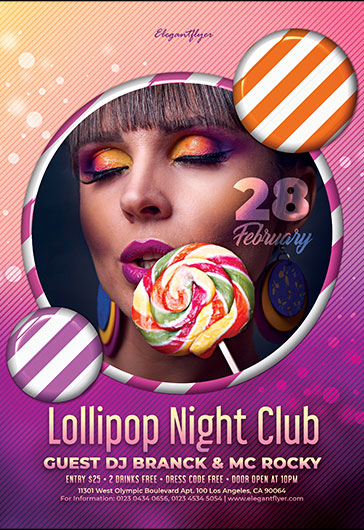 Lollipop Night Club – Flyer PSD Template + Facebook Cover + Instagram Post