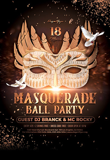 Masquerade Ball Party – Free PSD Flyer Template + Facebook Cover + Instagram Post