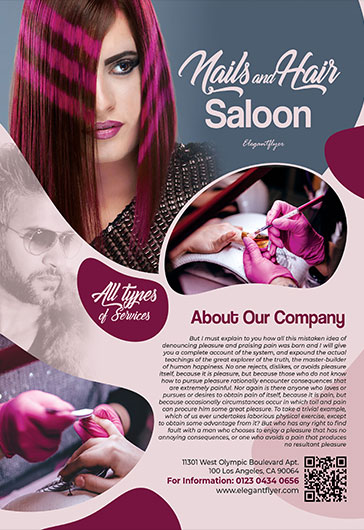 Nails & Hair Saloon – Flyer PSD Template + Facebook Cover + Instagram Post