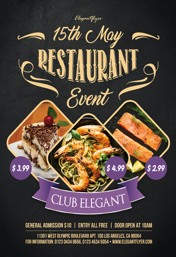 Restaurant Event – Free PSD Flyer Template + Facebook Cover + Instagram Post