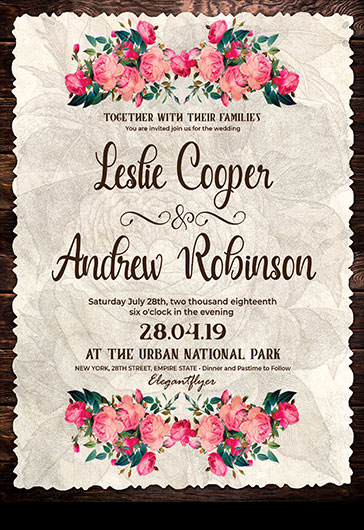 Retro Wedding Invitation – Flyer PSD Template + Facebook Cover + Instagram Post